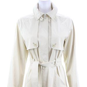 THEORY BEIGE COTTON BLEND TRENCH COAT SIZE MEDIUM